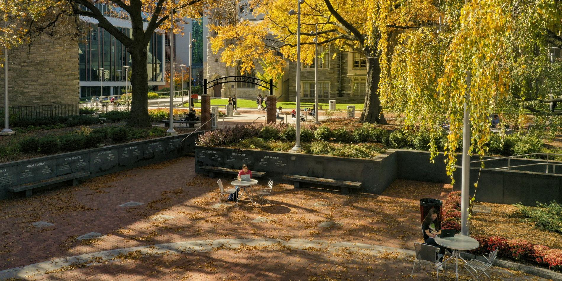 Student in founders garden