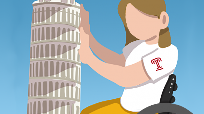 Illustration of Nurse with leaning tower of Pisa